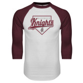 White/Maroon Raglan Baseball T Shirt-Knights Baseball Script w/ Plate