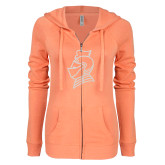ENZA Ladies Coral Light Weight Fleece Full Zip Hoodie-Knight Head White Soft Glitter
