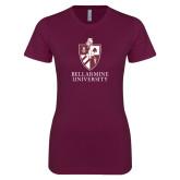 Next Level Ladies SoftStyle Junior Fitted Maroon Tee-Bellarmine University Logo