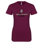 Next Level Ladies SoftStyle Junior Fitted Maroon Tee-Lacrosse