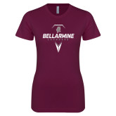 Next Level Ladies SoftStyle Junior Fitted Maroon Tee-Bellarmine Lacrosse Geometric