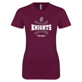 Next Level Ladies SoftStyle Junior Fitted Maroon Tee-Knights Softball Seams