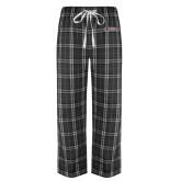 Black/Grey Flannel Pajama Pant-Official Logo Flat