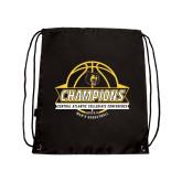 Black Drawstring Backpack-Mens Basketball Champions with Ball