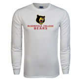 White Long Sleeve T Shirt-Bloomfield College Bears Stacked