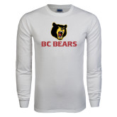 White Long Sleeve T Shirt-BC Bears Stacked
