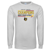 White Long Sleeve T Shirt-2018 CACC Mens Track and Field Champions