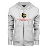 ENZA Ladies White Fleece Full Zip Hoodie-Bloomfield College Bears Stacked