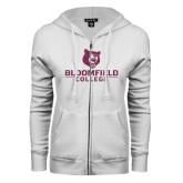 ENZA Ladies White Fleece Full Zip Hoodie-Softball Stacked Design