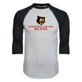 White/Black Raglan Baseball T-Shirt-Bloomfield College Bears Stacked