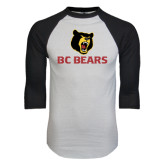 White/Black Raglan Baseball T-Shirt-BC Bears Stacked