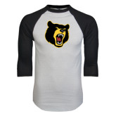 White/Black Raglan Baseball T-Shirt-Bear Head