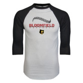 White/Black Raglan Baseball T-Shirt-Baseball Seams Stacked Design