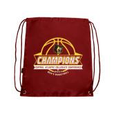 Cardinal Drawstring Backpack-Mens Basketball Champions with Ball