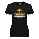 Ladies Black T Shirt-Mens Basketball Champions with Ball