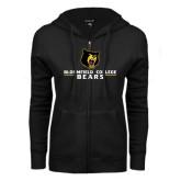 ENZA Ladies Black Fleece Full Zip Hoodie-Bloomfield College Bears Stacked