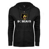 ENZA Ladies Black Fleece Full Zip Hoodie-BC Bears Stacked