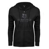 ENZA Ladies Black Fleece Full Zip Hoodie-Softball Stacked Design