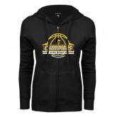 ENZA Ladies Black Fleece Full Zip Hoodie-Mens Basketball Champions with Ball