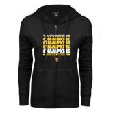 ENZA Ladies Black Fleece Full Zip Hoodie-Mens Basketball Champions Stacked