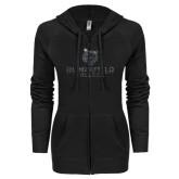 ENZA Ladies Black Light Weight Fleece Full Zip Hoodie-Softball Stacked Design