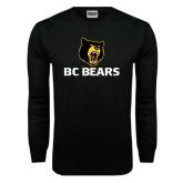 Black Long Sleeve TShirt-BC Bears Stacked