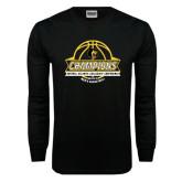Black Long Sleeve T Shirt-Mens Basketball Champions with Ball