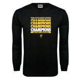 Black Long Sleeve T Shirt-Mens Basketball Champions Stacked
