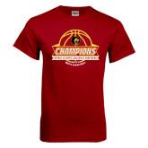 Cardinal T Shirt-Mens Basketball Champions with Ball