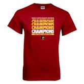 Cardinal T Shirt-Mens Basketball Champions Stacked