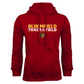 Cardinal Fleece Hoodie-Track and Field Stacked Design