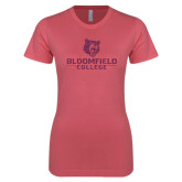 Next Level Ladies SoftStyle Junior Fitted Pink Tee-Softball Stacked Design