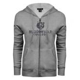 ENZA Ladies Grey Fleece Full Zip Hoodie-Softball Stacked Design
