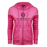 ENZA Ladies Fuchsia Fleece Full Zip Hoodie-Softball Stacked Design