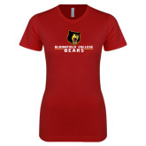 Next Level Ladies SoftStyle Junior Fitted Cardinal Tee-Bloomfield College Bears Stacked