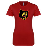 Next Level Ladies SoftStyle Junior Fitted Cardinal Tee-Bear Head