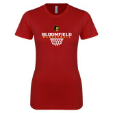 Next Level Ladies SoftStyle Junior Fitted Cardinal Tee-Basketball Sharp Net Design