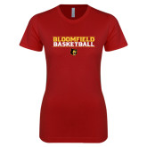 Next Level Ladies SoftStyle Junior Fitted Cardinal Tee-Basketball Stacked Design