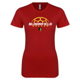 Next Level Ladies SoftStyle Junior Fitted Cardinal Tee-Soccer Ball Design