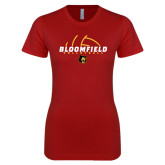 Next Level Ladies SoftStyle Junior Fitted Cardinal Tee-Volleyball Half Ball Design