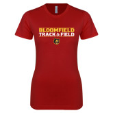 Next Level Ladies SoftStyle Junior Fitted Cardinal Tee-Track and Field Stacked Design
