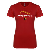 Next Level Ladies SoftStyle Junior Fitted Cardinal Tee-Baseball Seams Stacked Design