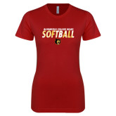 Next Level Ladies SoftStyle Junior Fitted Cardinal Tee-Softball Stacked Design