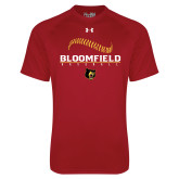 Under Armour Cardinal Tech Tee-Baseball Seams Stacked Design