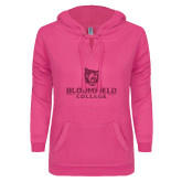 ENZA Ladies Hot Pink V Notch Raw Edge Fleece Hoodie-Softball Stacked Design