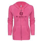 ENZA Ladies Hot Pink Light Weight Fleece Full Zip Hoodie-Softball Stacked Design