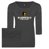 Ladies Charcoal Heather Tri Blend Lace 3/4 Sleeve Tee-Primary Mark