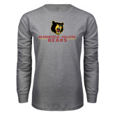 Grey Long Sleeve T Shirt-Bloomfield College Bears Stacked