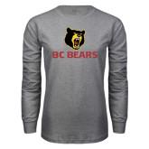 Grey Long Sleeve T Shirt-BC Bears Stacked