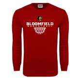 Cardinal Long Sleeve T Shirt-Basketball Sharp Net Design